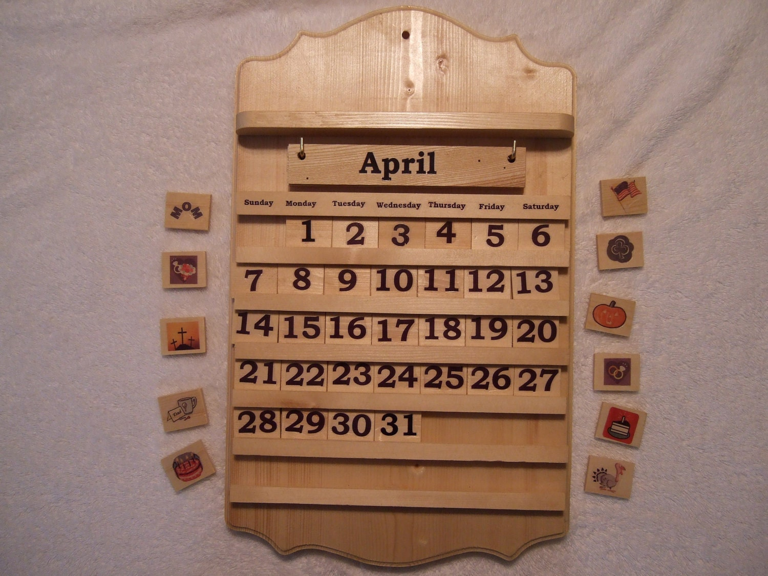 perpetual monthly wooden calendar by LauraEllensShop on Etsy