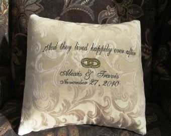 Personalized Wedding Pillow  Happily Ever After  Fairytale  Annviersary  Commitment Ceremony