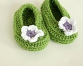 Baby Crochet Booties - Ballet Flower Design - You Pick Size and color