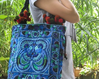 Hmong Old Vintage Style Ethnic Thai Boho Shoulder Medium Tote Bag