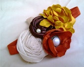 Sandy- Mustard, Chocolate Brown, Burnt Orange and Cream Rosette Headband with Pearl Details- Newborn / Baby Girl Toddler  - Great Photo Prop