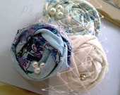Vintage Inspired  Rosette Headband in Print Fabric in shades of Blue, Purple and White with Pearl and  Birdcage Netting Great Photo Prop