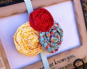Red Polka Dot,Yellow and Blue Print Blue Rosette Headband- Newborn / Baby Girl Toddler  - Great Photo Prop