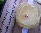 Soft Yellow  with Rhinestone Center Headband - Newborn / Baby Girl and Toddler Teen / Adult Headband -  Great Photo Prop