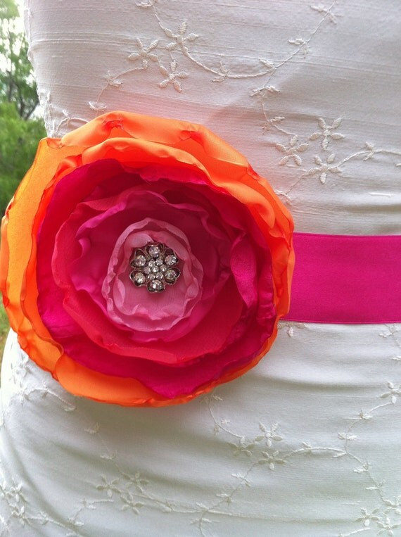 Orlena- Stunning Bridal Sash....Single flower sash in shades of Tangerine, Coral, Fuschia and Pink.... Bridal, Prom, Ball , Portraits....