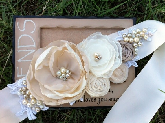 Custom Listing for Beautiful Bride to be Sara- Kelly. Bridal Sash in Ivory Cream, Champagne, Nude and Bridal White Rosette Sash...