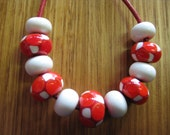Glass Lampwork Beads Set, Mosaic Dots in Dark Red, Burnt Orange and Ivory, with Ivory Spacers.