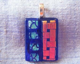 Blue and Gold Glass Pendant. Fused Glass Jewellery. Dichroic Glass. Handmade Glass Art. Australian Fused Glass Jewellery. Kiln Fired Glass.