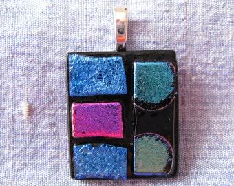 Blue, Pink and Black Glass Pendant. Fused Glass. Dichroic Glass. Handmade Glass Pendant. Australian Fused Glass Jewellery. Kiln Fired Glass.