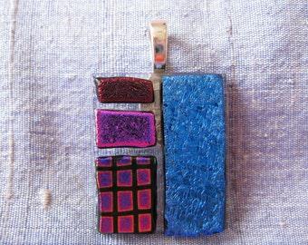 Purple and Blue Glass Pendant. Fused Glass Jewellery. Dichroic Glass. Handmade Glass Jewellery. Australian Fused Glass. Kiln Fired Glass.