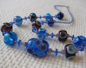 Glass Lampwork Bead Necklace, Plunged Bubbles in Purples and Blues, with Amethysts.