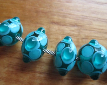 Lampwork Glass Beads, Teal and Turquoise Dots, Artisan Handmade