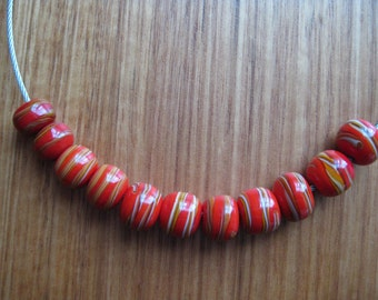 Lampwork Glass Beads,  Red and Earthy Striped Artisan Handmade