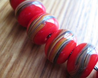 Glass Lampwork Beads, Red and Earthy Striped, Artisan Handmade