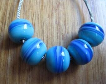 Glass Lampwork Beads, Blues on Blue Striped, Artisan Handmade