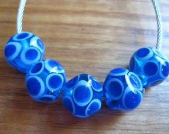 Glass Lampwork Beads, Blues Mosaic Diamonds Artisan Handmade