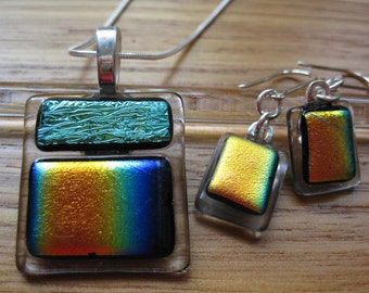 Dichroic Fused Glass Pendant and Earring Set, Mint Green and Rainbow on Clear Glass.