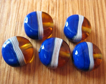 Blue and Amber Glass Beads. Button Beads. Silver Ivory. Lampwork Glass Beads. Handmade Glass Beads. Australian Beads. Kiln Fired Glass Beads