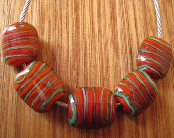 Glass Lampwork Pillow Beads, Carrot Red and Green Filligana.