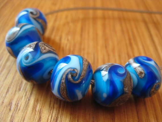 Glass Lampwork Beads, Ocean Blues with Silver Ivory Swirls