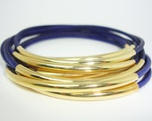 10 Deep Phlox Brazilian Leather Bangles with Gold Plated Tube Accents