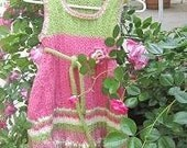 Hand knitted Dress Jumper with Rose and Belt