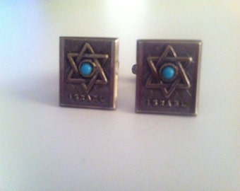 Israel, Star of David Cufflinks with Turquois in Sterling Silver