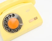 Vintage Yellow Rotary Phone - Made in Poland - Shabby Chic Home Decor - Photo Props