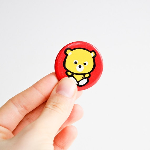 Soviet Union Red Metal Pin with Cute Yellow Teddy Bear - Vintage USSR - Gift