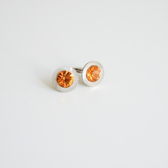 Vintage Cuff Links with Sparkling Yellow Stone - Made in USSR - Soviet Union