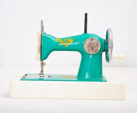 Sea Green Vintage Toy Sewing Machine - Made in USSR - Kids Room Decor