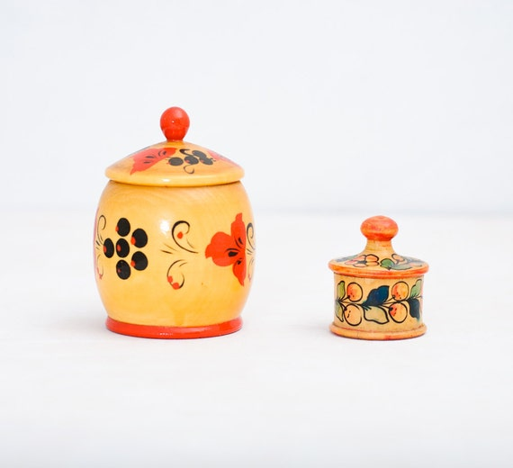 Vintage Folk Art Containers - Set of 2 - Storage - Made in USSR - Box - Collectibles