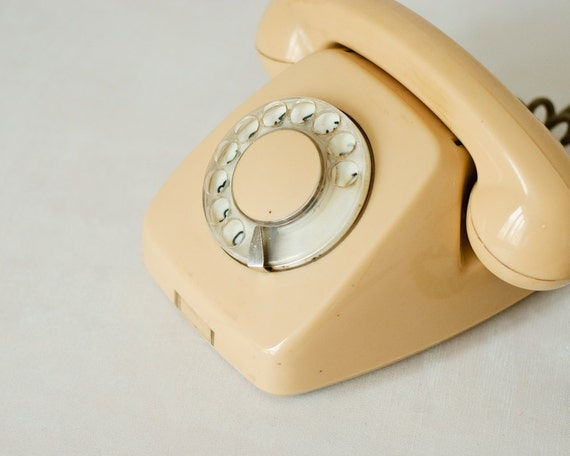 Vintage Rotary Phone - Home Decor - Light Beige - Cream - Made in Poland - teamcamelot
