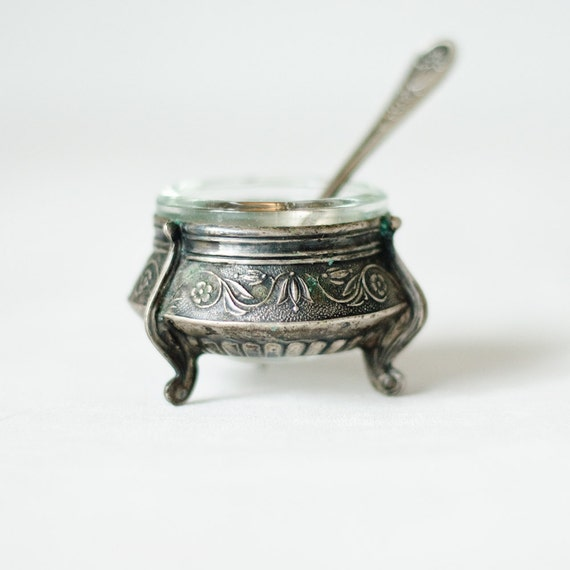 Vintage Salt Cellar - Soviet Union - USSR - Small Tiny Salt Cellar with Spoon