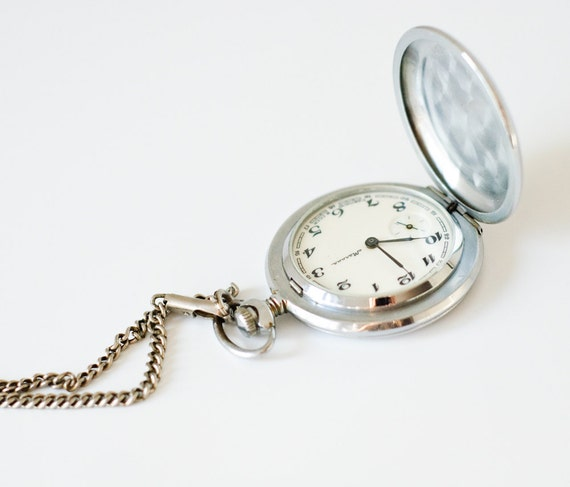 Vintage Soviet Pocket Watch Molniya - Working Mechanical Watch - USSR Pocketwatch - Gift Idea for Him - teamcamelot