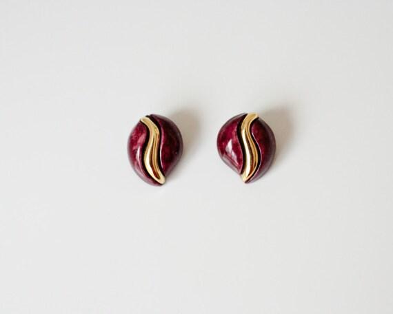Purple Vintage Earrings - Made in USSR 1980s - Clip on Earrings