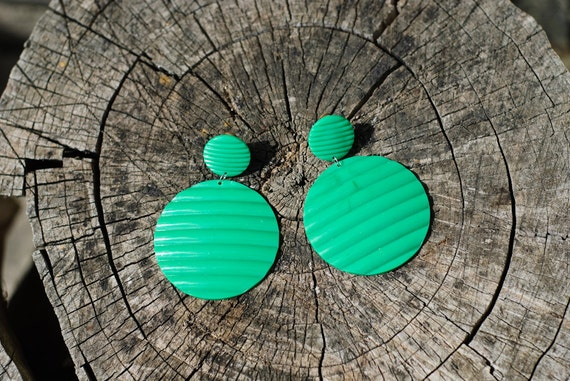 Summer Fashion Style - Green Chunky Vintage Earrings - Soviet Union USSR - Clip Earrings