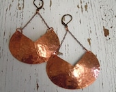 Large Hammered Copper Shield Earrings - Tribal