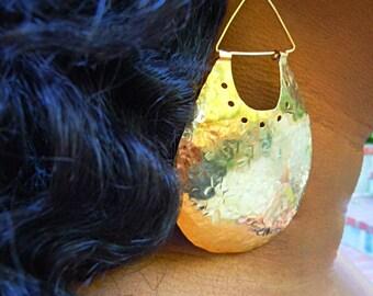 Hammered Brass Earrings Golden Prosperity Shields Handcrafted Artisan Jewelry