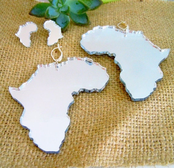 Sale ...Large African  Continents silver acrylic mirror ....earrings ready to ship