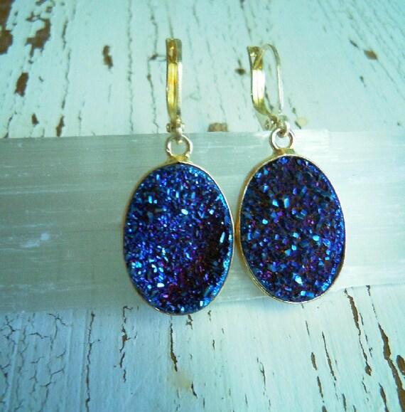 Indigo Blue Druzy Earrings - 9.25 silver - Titanium Royal Blue Flame - Agate Geode