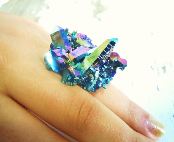Rainbow Crystal Druzy Ring - Titanium Aura Quartz Cluster