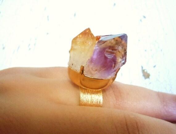 Citrine and Amethyst Raw Gemstone Ring - Crystal Point Ring