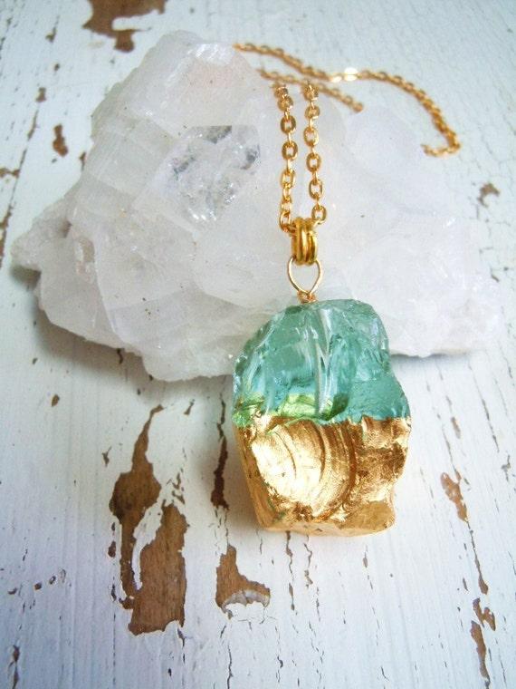 Blue Quartz Natural Gemstone Necklace - Gilded in Gold Rock Crystal Necklace