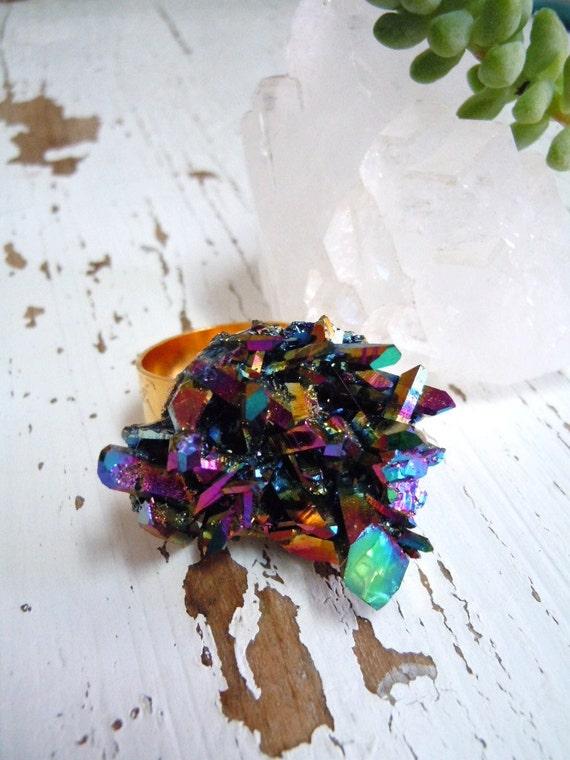 Rainbow Crystal Druzy Ring - Titanium Aura Quartz Cluster - Crystal Quartz