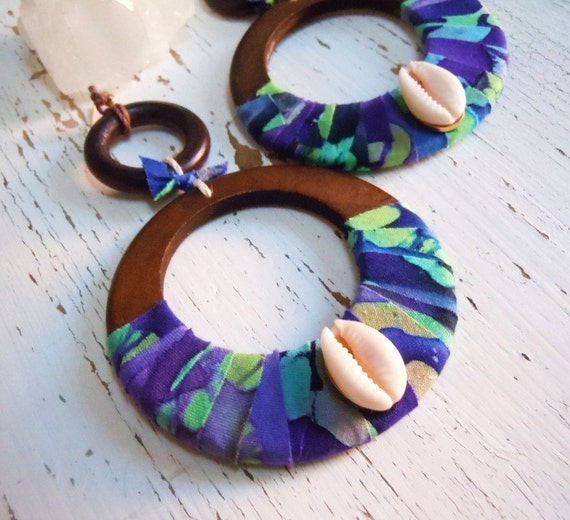 Batik Wooden Hoop Earrings - Boho Hippie Wear