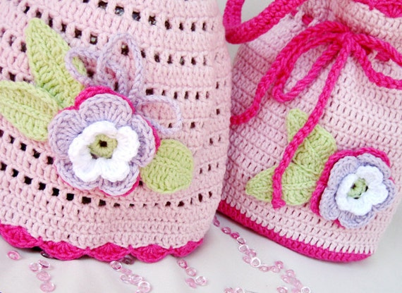 Discount! Crochet baby hat and bag,crochet baby hat, crochet baby bag, pink baby hat and bag, baby set , girls accessory,READY TO SHIP