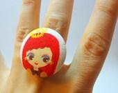 Kawaii Doll Ring - Bronze insih Adjustable Filigree Ring with Redhead Princess Doll Fabric Button