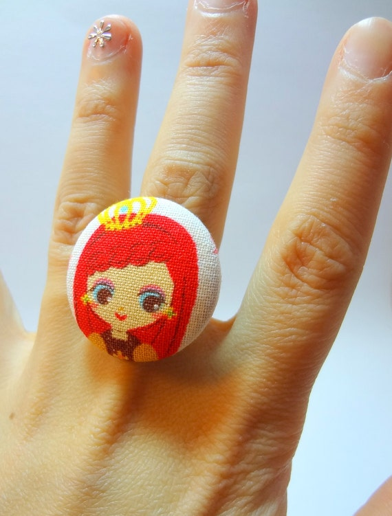 Kawaii Doll Ring - Bronze insih Adjustable Filigree Ring with Redhead Princess Doll Fabric Button