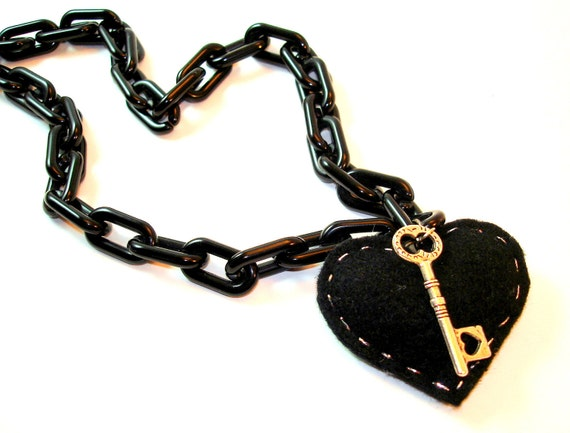 SALE 25% OFF  Black Heart Necklace - The Key to my Black Heart with Chunky Black Plastic Chain